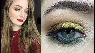 Новогодний макияж: золотые тени и красные губы // видео-урок пошагово
