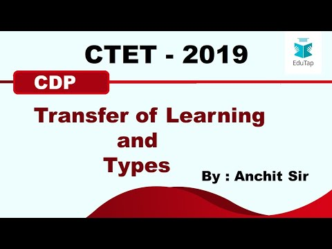 Transfer of Learning and Types | CDP | CTET | 2019