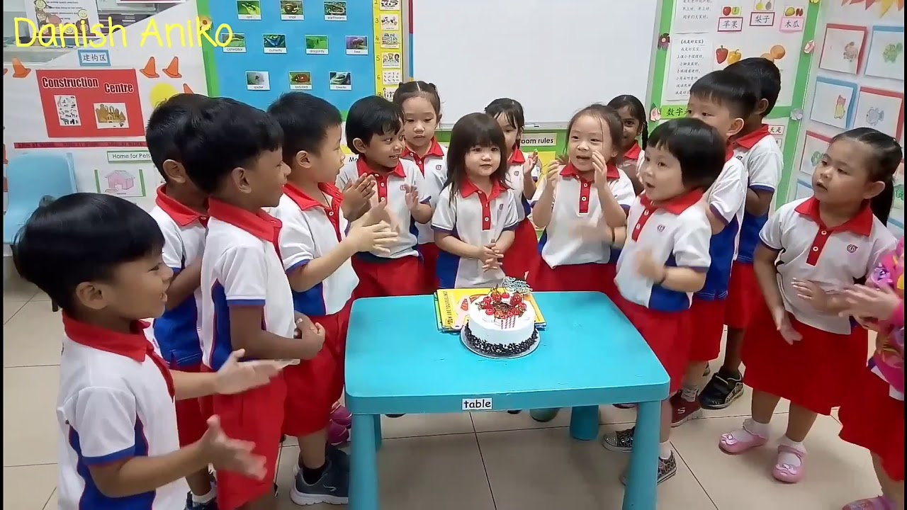 Happy Birthday Song In English And Chinese. Kids Singing