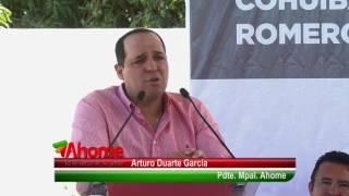 Entrega el Pdte  Arturo Duarte García, monumental techumbre en cancha Deportiva de cohuibampo
