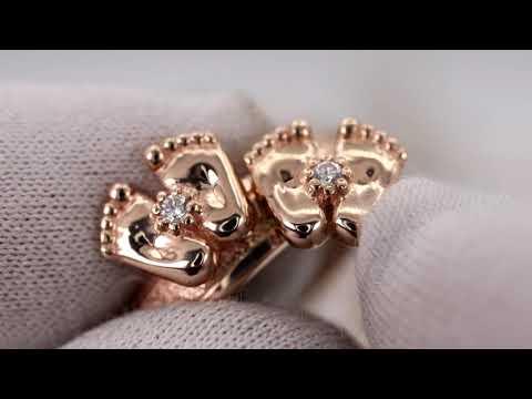 EliteGold - кольцо на рождение ребенка детские пяточки в красном золоте
