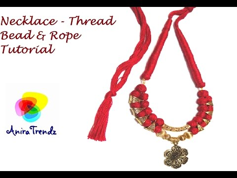 How to make necklace at home using cotton thread beads and dori - Easy DIY Tutorial
