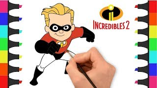 Incredibles 2 Coloring Pages For Kids | Coloring Dash Parr | Draw and Color Dash from Incredibles 2