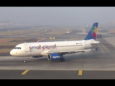 """GoAir Airbus A320 """"Small Planet Poland"""" livery, taxi and takeoff from Mumbai"""