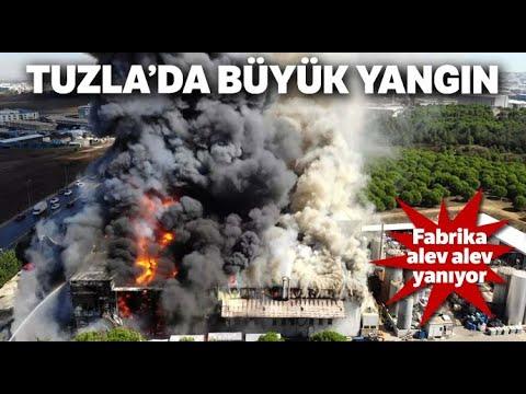Tuzla'daki Fabrika Yangını Havadan Görüntülendi