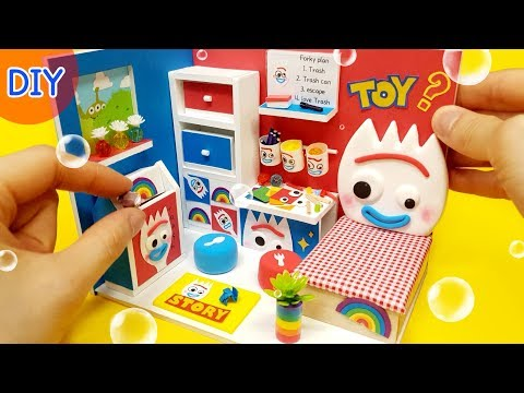 DIY Miniature Dollhouse  - Toystory4 FORKY Room Decor !