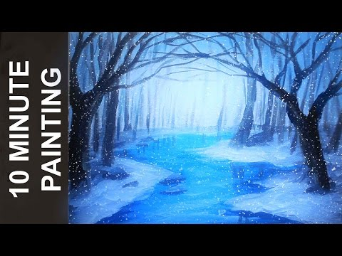 Painting a Winter Forest Landscape with Acrylics in 10 Minutes!