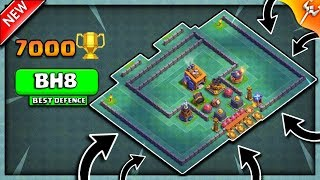 BH8 TROPHY BASE +7000 TROPHIES  | NEW BUILDER HALL BASE LAYOUT 2018 | 100% VICTORY✔✔- CLASH OF CLANS