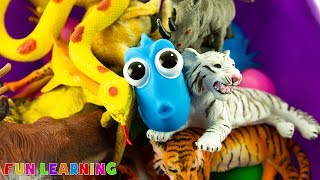 Lets Learn Wild Animals and Colors For Kids with a Box of Toy Animals