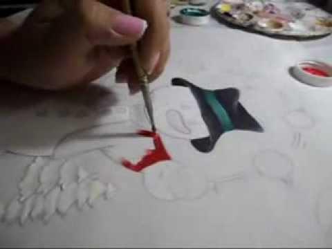 Como pintar un mu eco de nieve en tela paso a paso youtube - Como pintar sobre tela ...