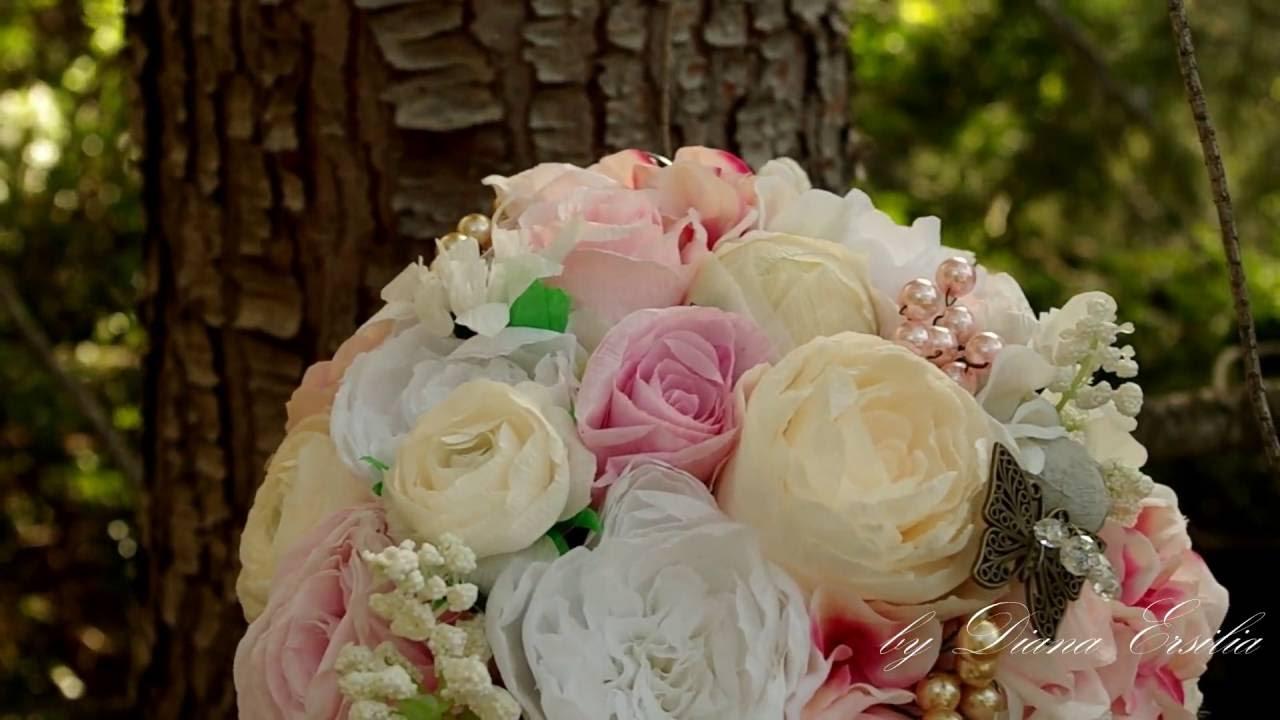 Wedding paper flowers bouquet handmade paper flowerstissue and wedding paper flowers bouquet handmade paper flowerstissue and creppe paper roses paper crafts izmirmasajfo