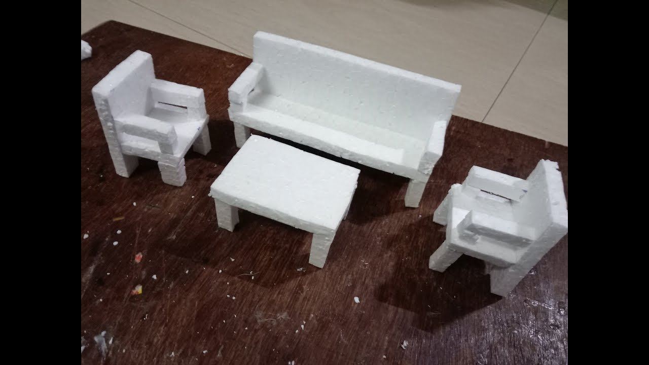 DIY: How to make sofa, chair and teapoy with thermocol - miniature craft