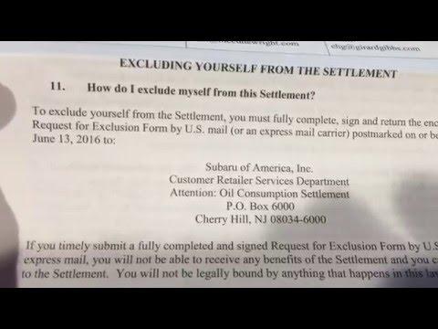 Subaru Class action suit - Oil consumption settlement