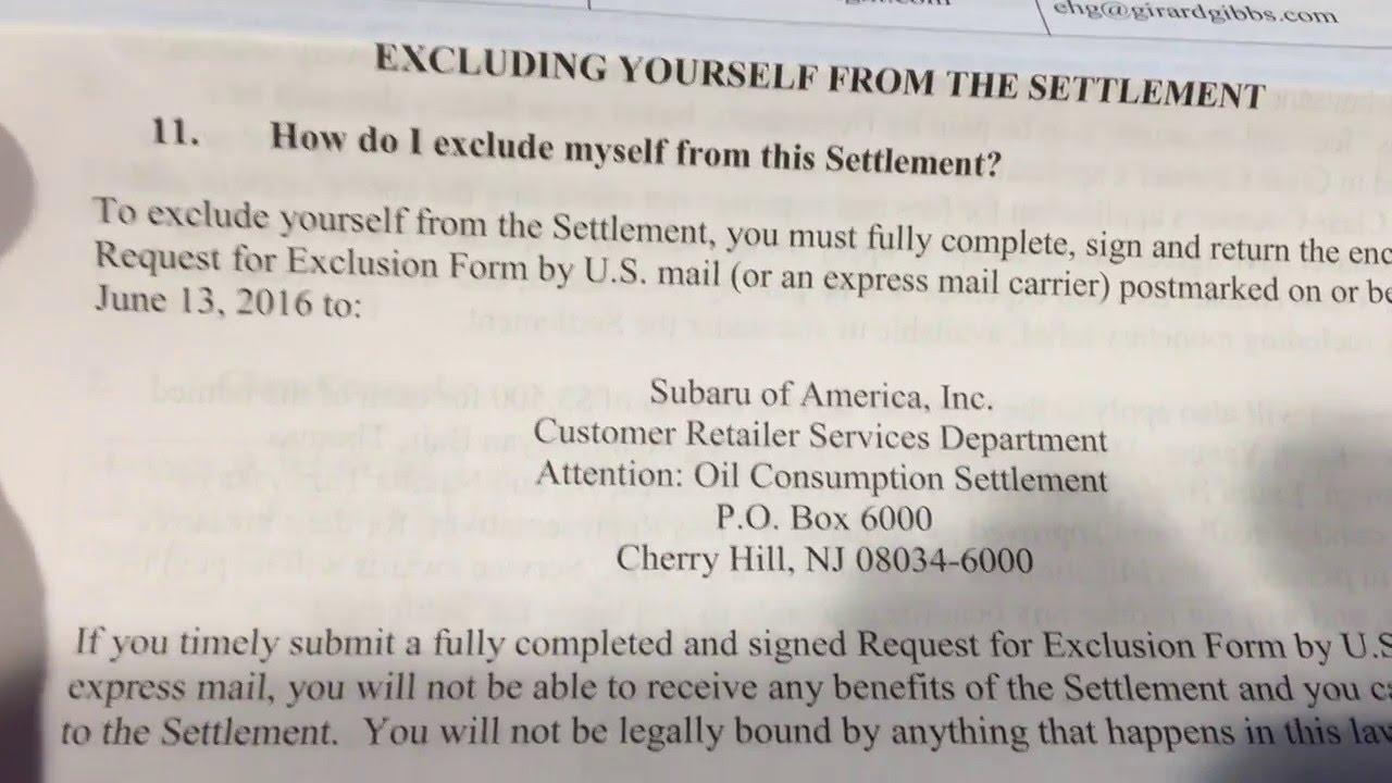 Subaru Class Action Suit Oil Consumption Settlement Youtube
