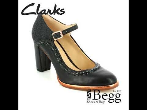 Ladies Clarks Kurtley Shine Smart Leather Block Heel Sandals D Fitting