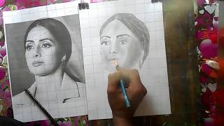 How to draw Sridevi using grid step by step for today Sridevi passes away(for beginners)