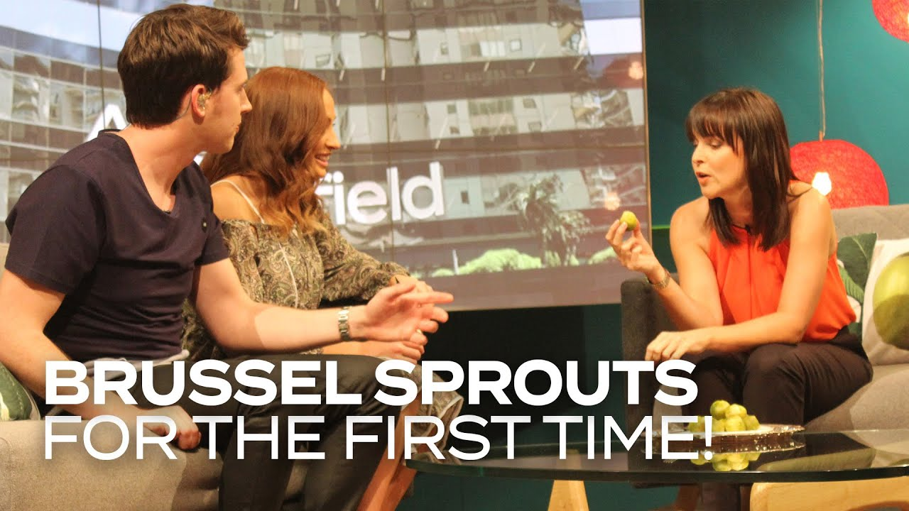 Angela Bloomfield eats brussel sprouts for the first time! - Adam & Eve make Angela Bloomfield from Shortland Street face her fears - making her eat brussel sprouts for the first time in her life!