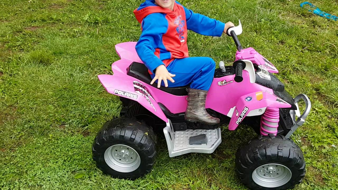 Phoenix Test Riding the Peg Perego Polaris Outlaw Pink - YouTube