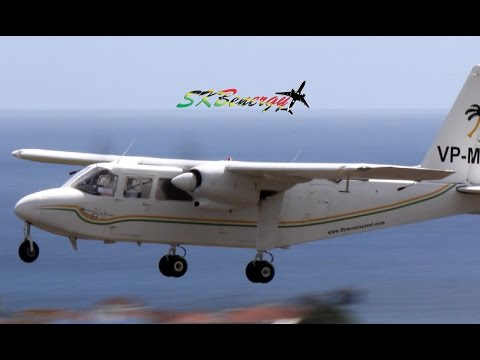 Rare catch !!! Fly Montserrat Britten-Norman Islander in action @ St Kitts Airport