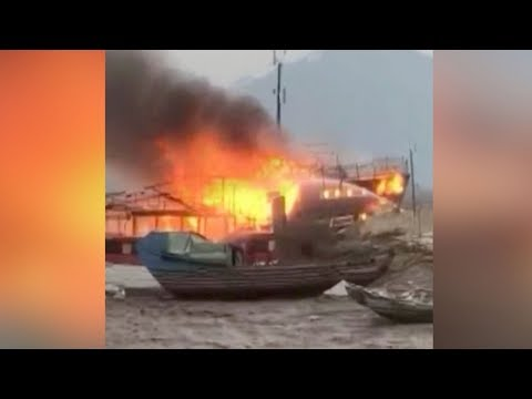 China's largest antique wooden ship in flames