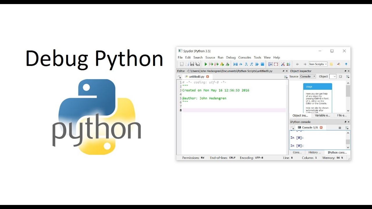 Debugging Python with ipdb and Sypder