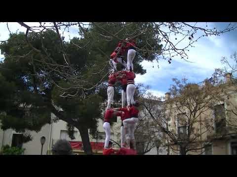 Castellers de Barcelona:3d7 FEMENÍ DESCARREGAT (Diada de dones 2020)