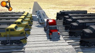 Multiple railroad crossing Train crashes - Beamng drive
