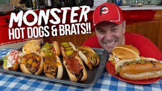 Gourmet Hot Dogs and Bratwursts Eating Challenge w/ 2 Sandwiches!!