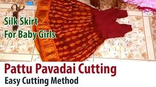 Pattu Pavadai Cutting in tamil Silk Skirt Dress for Baby Girls Part 2/2 Easy Method