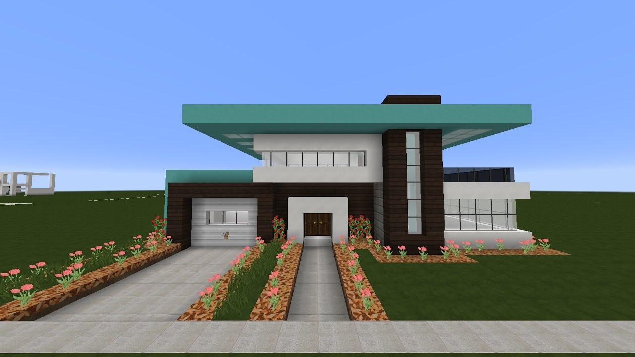 Tutorial linda casa moderna minecraft pt2 youtube for Casa moderna 8
