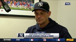 Aaron Boone on Gary Sanchez's big night, J.A. Happ's start and more against the Twins