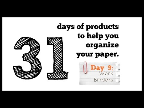 31 days of paper organizing products - DAY  9 - a work binder.