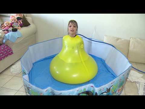 Girl inside 6ft giant water balloon