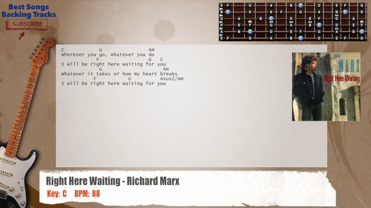 Right Here Waiting Richard Marx Guitar Backing Track With Chords