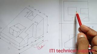Third angle projection, isometric view, Orthographic projection,