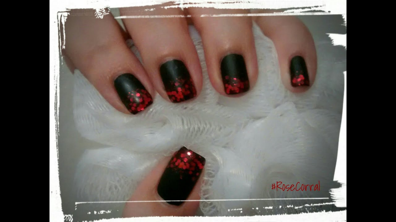 Matte black nails with faded red glittered tips - YouTube