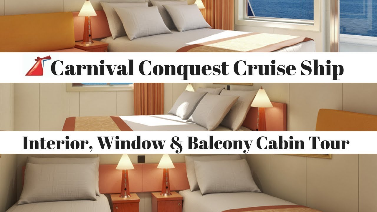 Carnival Conquest Balcony Window Interior Stateroom Tour Cruise Ship Cabin Review