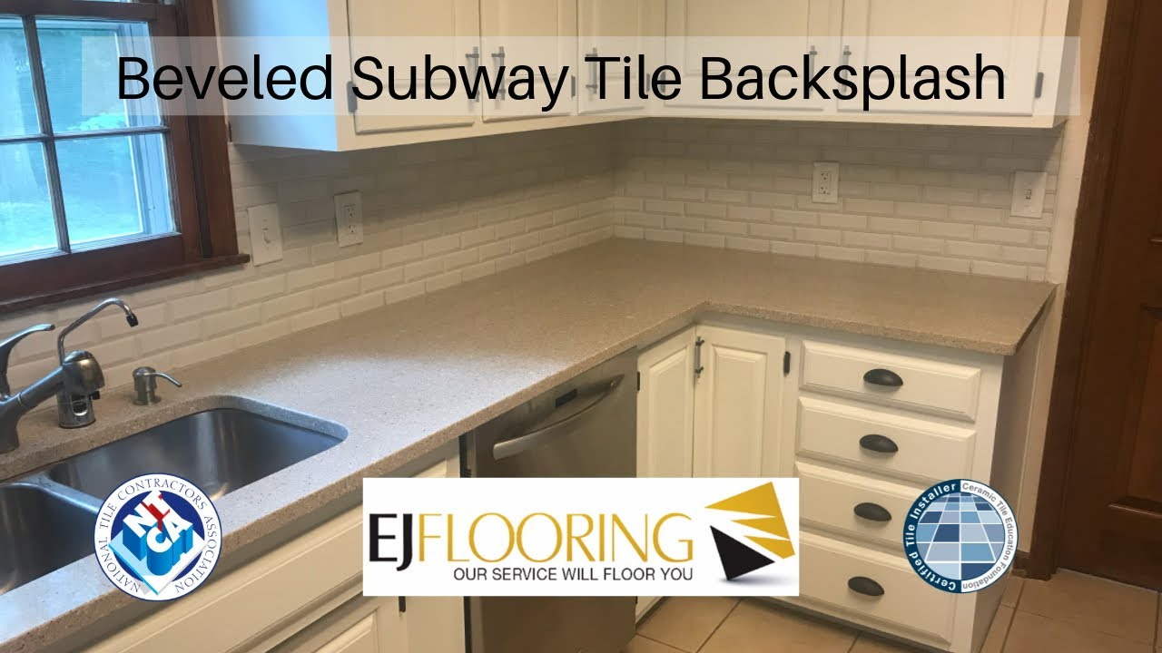 Elongated Beveled Subway Tile Backsplash Installation Youtube