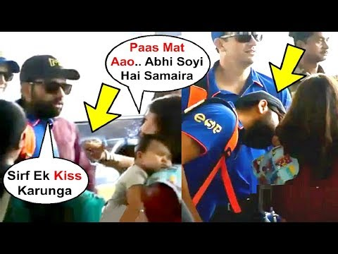 Rohit Sharma Cute Moment With His Daughter Samaira Outside Delhi Airport