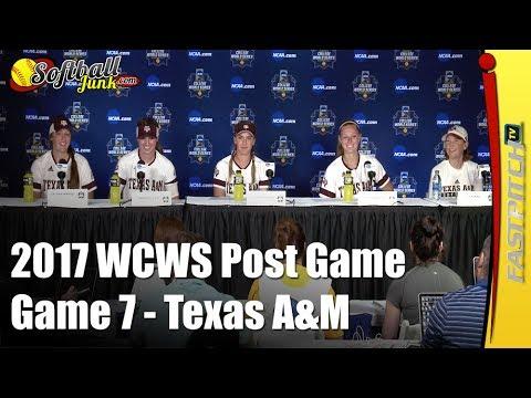 Texas A&M 2017 WCWS D1 NCAA Softball   Post Game 7