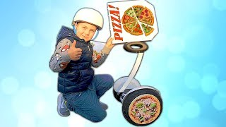TimKo Kid and Mama Pretend Play Magic Pizza Delivery | Ride on Segway Pizza Wheels