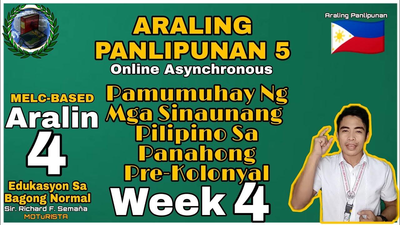 Download Araling Panlipunan 5: Pamumuhay ng mga Sinaunang Pilipino sa Panahong Pre-Kolonyal Quater1_W4  ❤️🇵🇭