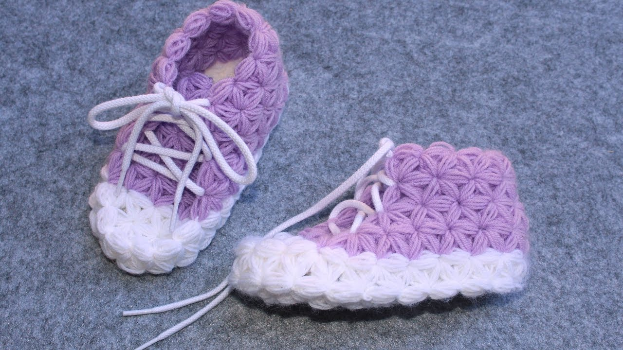 3e02f72a13b Crochet Slippers for Children - Part 1 (without Sole) -Triangle Star Stitch  - Puffed Star Stitch