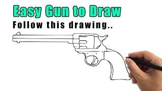gun draw easy step drawing beginners sketch pistol