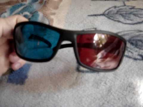 Style Plastic Sanded Frame Resin Lens Anaglyphic Red + Blue 3D Glasses dealextreme