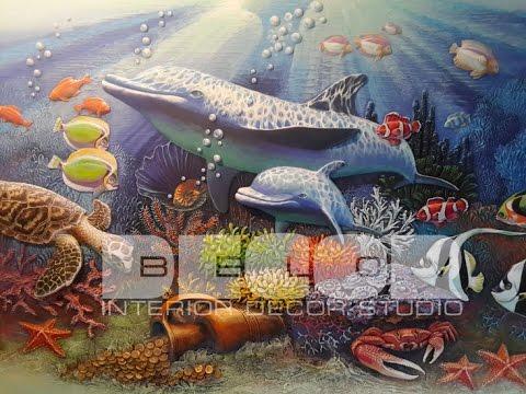 Барельеф. Подводный мир. Декор интерьера. Декор стен.