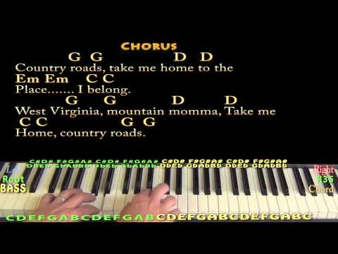 Country Roads (JOHN DENVER) Piano Cover Lesson in G Major with Chords/Lyrics