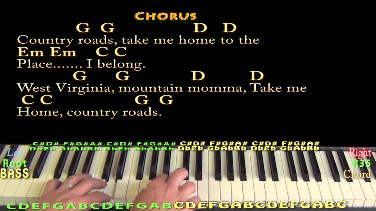 Country roads john denver piano cover lesson in g major with country roads john denver piano cover lesson in g major with chordslyrics youtube hexwebz Image collections