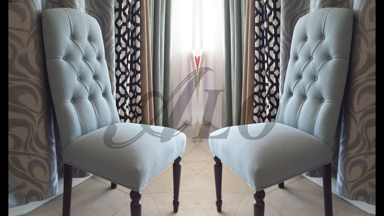DIY HOW TO REUPHOLSTER A DINING ROOM CHAIR WITH BUTTONS.   ALO Upholstery    YouTube