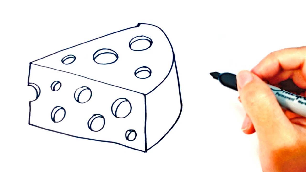 How to draw a cheese piece of cheese easy draw tutorial